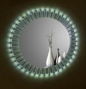 Μοντέρνος καθρέπτης με κυκλικό σχήμα και φωτισμό LED στην εξωτερική πλευρά